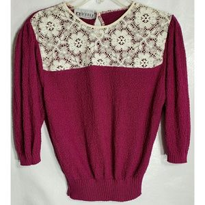 Vintage S Pink Knit Cotton Lace Sweater Top Boho
